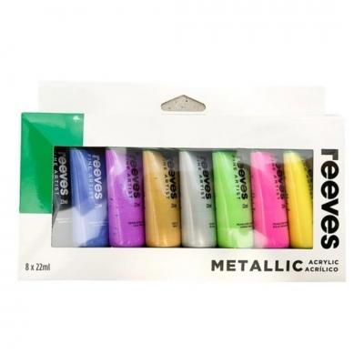 Set Acrílicos 8 Colores Metalizados - Pomo 22 Ml
