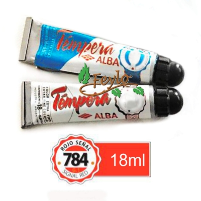 Tempera Prof. Alba  X 18 Ml Rojo SeÑal