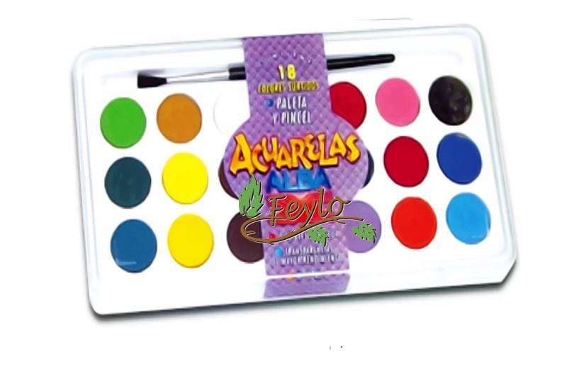 Acuarelas Alba En Caja X 18 Colores