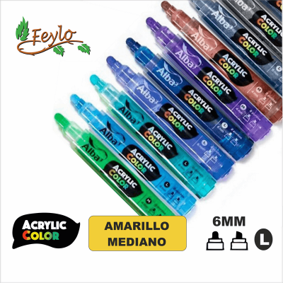 Acrylic Colour Amarillo Mediano Punta 6mm