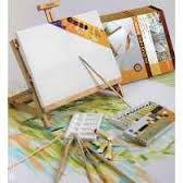 Set De Acrilicos X 12 Con Mini Atril-paleta Y Bastidores Art-mate