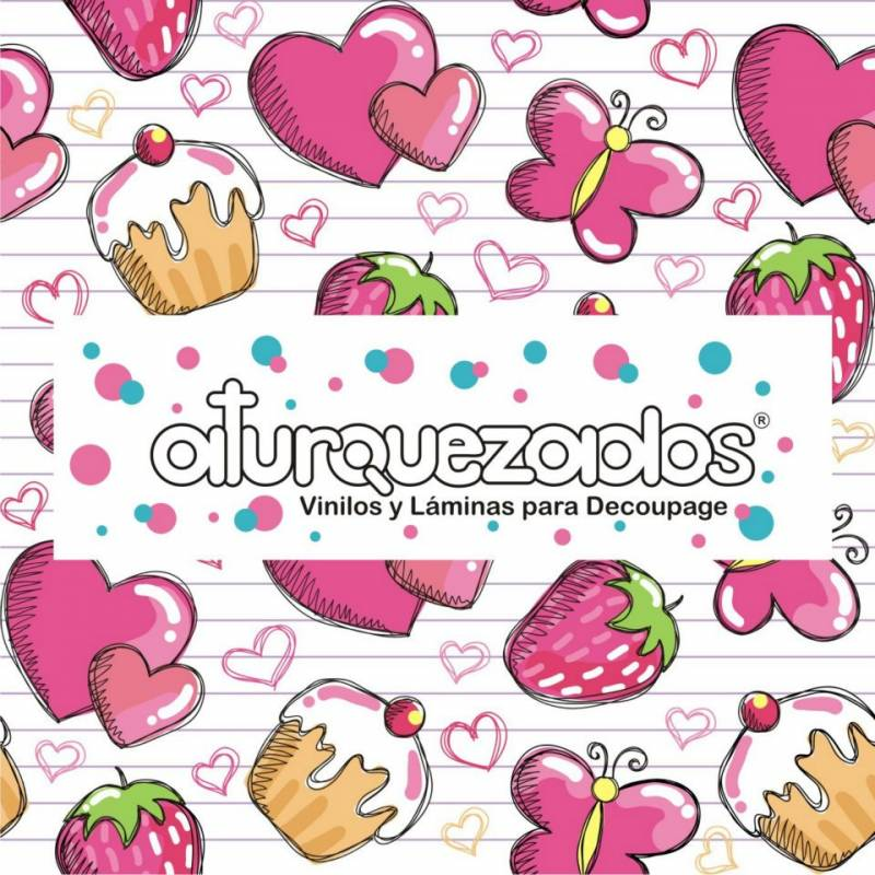 Laminas A4 Aturquezados Cupcakes Corazones-202