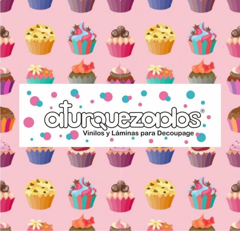 Laminas A4 Aturquezados Cupcakes Fondo Rosa-203