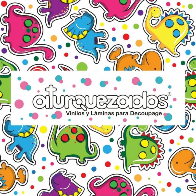 Laminas A4 Aturquezados Dinos Coloridos-300