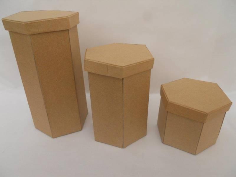 Caja Carton Hexagonal Grande Lisa 9x9x19