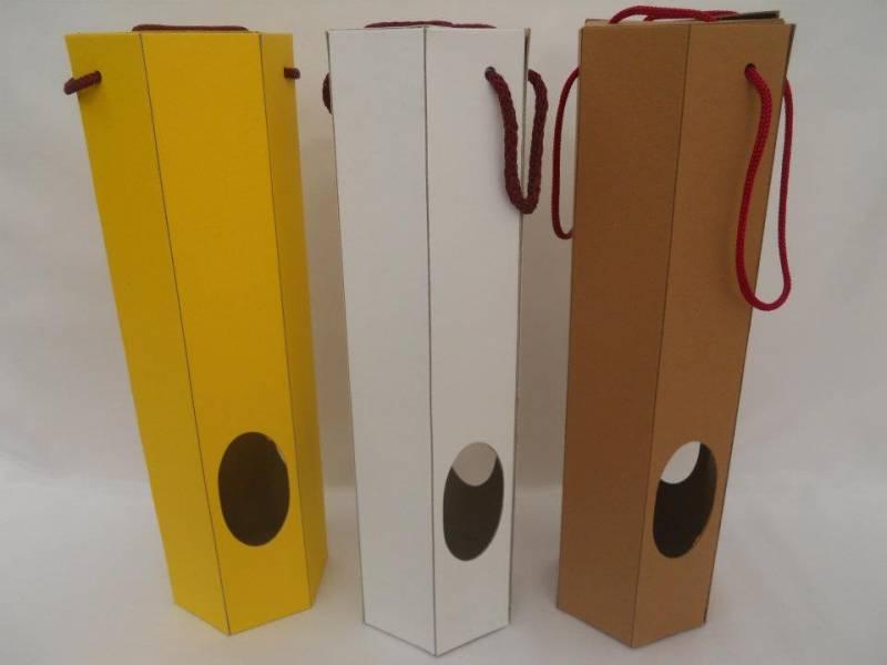 Caja Carton P/ Botella Hexagonal 34x8  Color Navideño