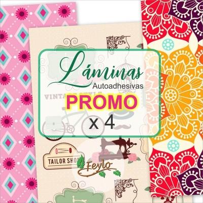 Promo Laminas Autoadhesivas Cromi A4  X 4