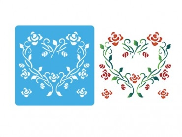 Stencil Eq 15x15cm-913 Corazon Con Rosas