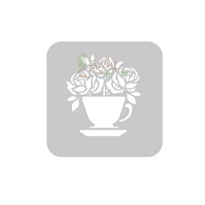 Stencil Eq 10 X 10 Cm 830 - Taza De Rosas