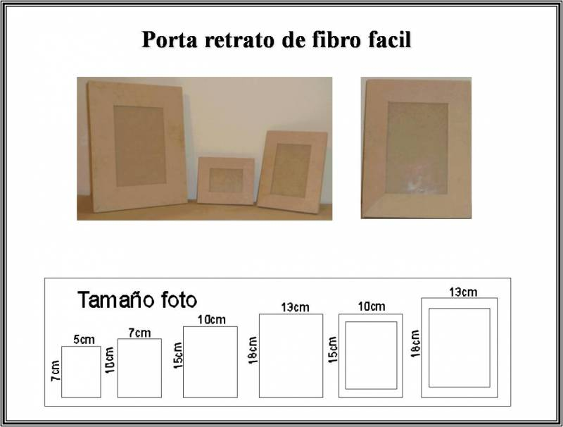 Portarretrato  Fibro C/ Vidrio 5 X 7