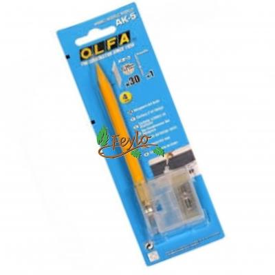 Cuchillo Olfa Ak-5 4mm + Respuesto Y Punta