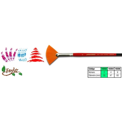 Pincel Plantec  Abanico Fibra Sintetica Dorada 2