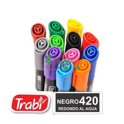 Marcadores Al Agua Marker Redondo 420 Negro