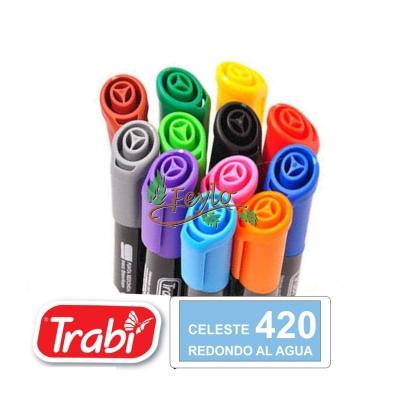 Marcadores Al Agua Marker Redondo 420 Celeste
