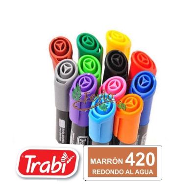 Marcadores Al Agua Marker Redondo 420 Marron
